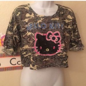 Tops - Burn out hello kitty crop top